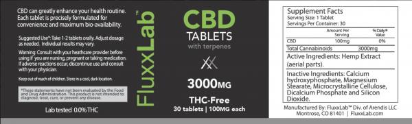 CBD Pills 3000mg Side Label